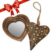 Handmade Wooden Heart Shaped Wall Mounted Mirror & Beautiful Wall Hanging Home Decorative