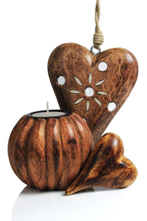 Beautiful Wooden Handmade Tea Light Candle Holder, Heart Hanging & Heart Ornament Gift Ideas