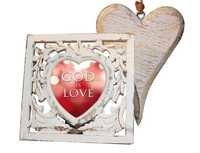 Painstakingly hand-chiseled, white-washed Wooden Heart. Hand-carved exquisite Photo Frame