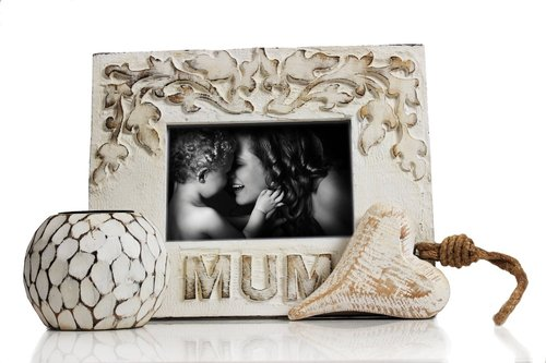 White Wash Finish Handmade Tea Light Holder, Heart Shaped Wall Hanging & Mum Photo Frame