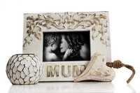 White Wash Finish Handmade Tea Light Holder, Heart Shaped Wall Hanging & Mum Photo Frame