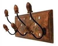Vintage Wall Mounted Coat Hooks Hanger Adorned with Mirror & Aluminium Housewarming