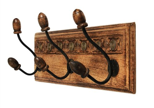 Vintage Wall Mounted Coat Hooks Hanger Adorned with Mirror & Aluminium Housewarming