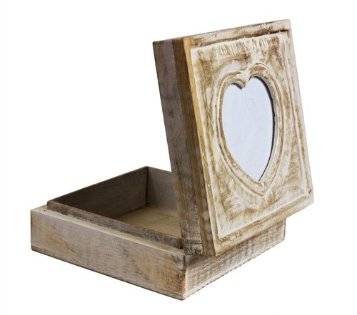 Hand Carved Jewellery Box with Heart Shaped Photo Frame on Lid in White Distress Finish