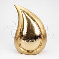 Teardrop Brushed Brass Metal Cremation Urn