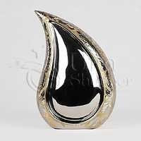 Teardrop Silver-Gold Brass Metal Cremation Urn