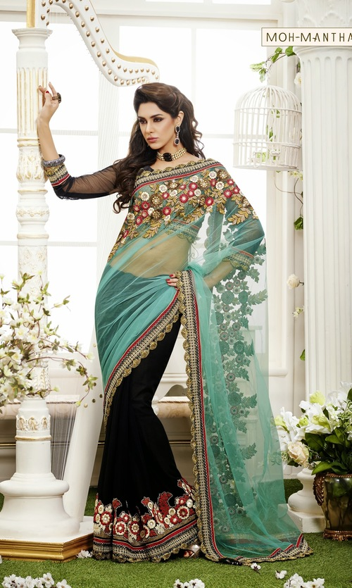 Designer Floral Embroidery Saree