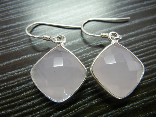 Pink Chalcedony Silver Earrings