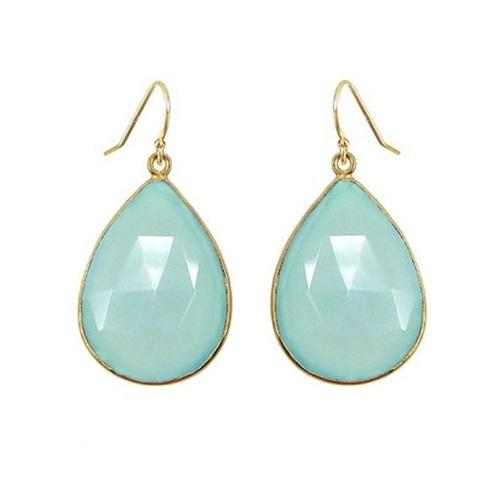 Aqua Chalcedony Gemstone Drop Earring