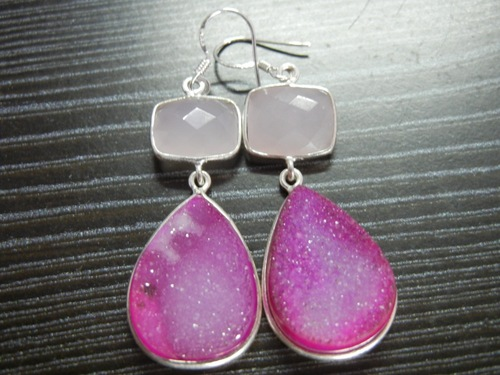 Sterling Silver Druzy Earrings