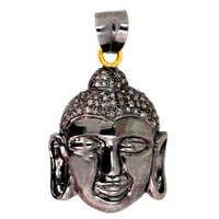 Gold Diamond Buddha Pendant