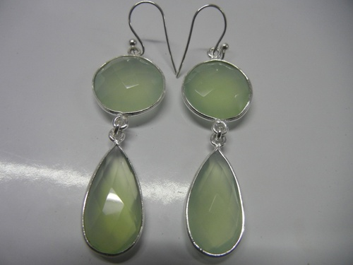 Green Chalcedony Earrings