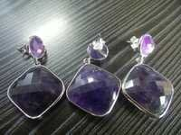 Silver Plated Amethyst Earrings