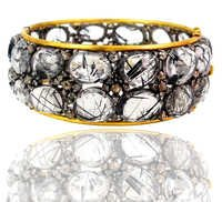 Rutile Diamond Gold Bangle
