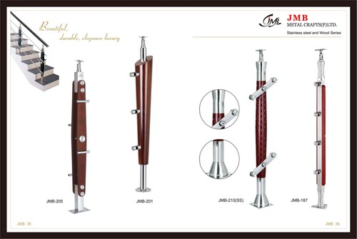 Stainless Steel With Wood Ballusters For Glass Rai