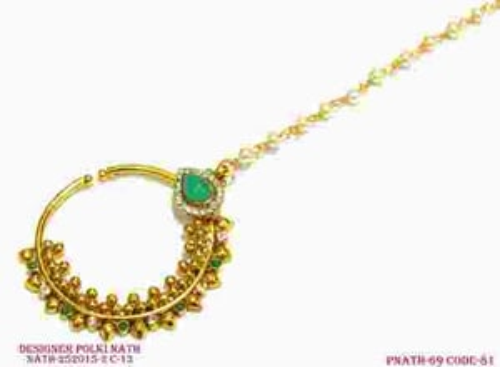 Gold Polki Nose Ring