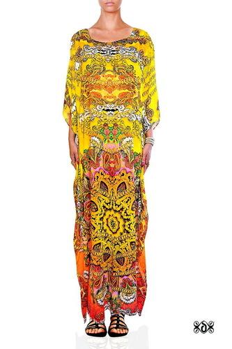 Designer Beachwear Long Embellished Kaftan
