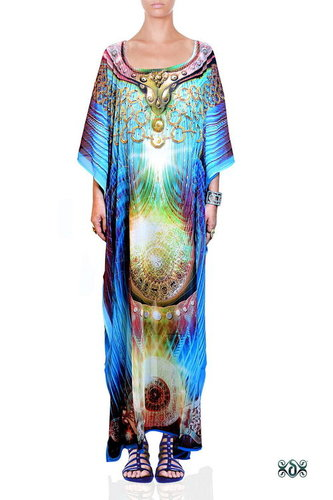 Digital Print Long Embellished Silk Kaftan