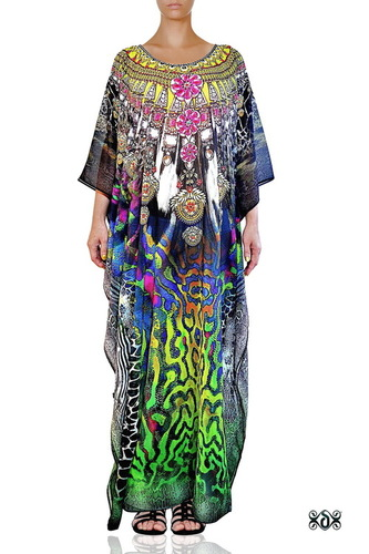 Animal Print Long Embellished Designer Kaftan