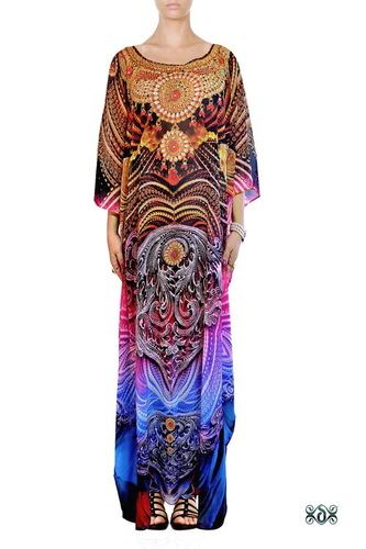 Digital Print Long Embellished Designer Kaftan