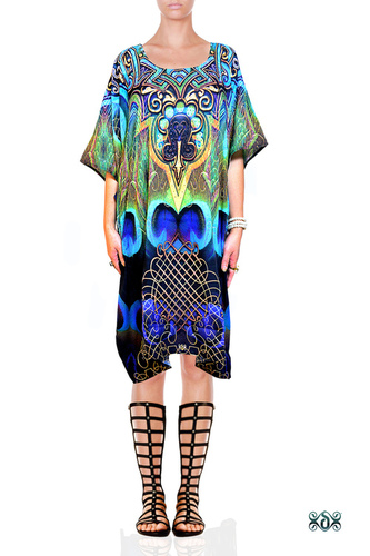 Digital Print Peacock Design Kaftan Dress