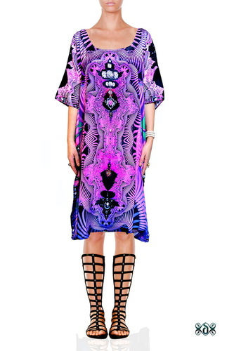 Digital Print Bright Embellished Beachwear Kaftan