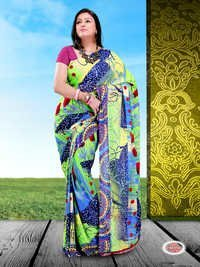 Georgette Printed Polyester Sarees