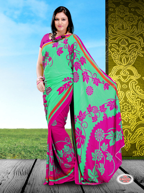 Georgette Polyester Printed Sarees