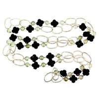 Onyx Green Amethyst Silver Necklace