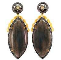 Diamond Labradorite Gold Earrings