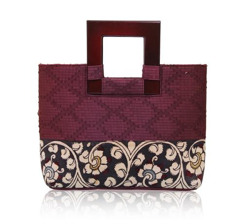 Silk Jacquard Shopper Handbag with Square Handle with Kalamkari Design