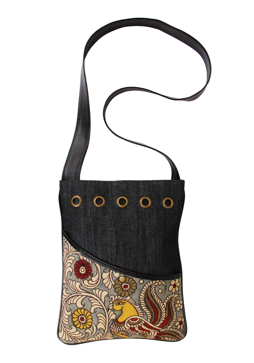 Handpainted Denim Crossbody Messenger Bag Birthday or Housewarming Gift Ideas