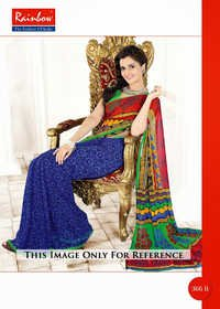 Multi Design Printed Saree