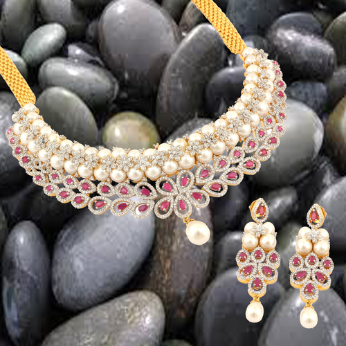 Delicate Ruby AD Necklace Set.