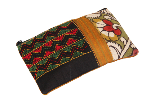 Tribal Raw Silk Zipper Makeup Cosmetic Organizer Pouch Wedding Anniversary Gifts Ideas for Women