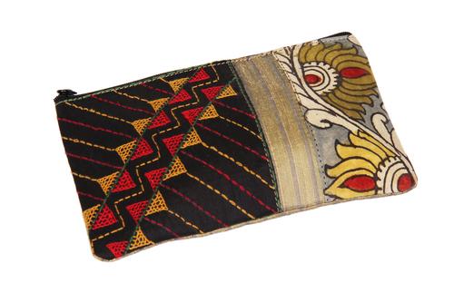 Tribal Raw Silk Zipper Makeup Cosmetic Organizer Pouch Wedding Anniversary Gifts Ideas for Women