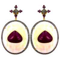 Gemstone Diamond Gold Earrings