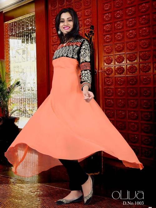 Designer Georgette Anarkali Style Suit