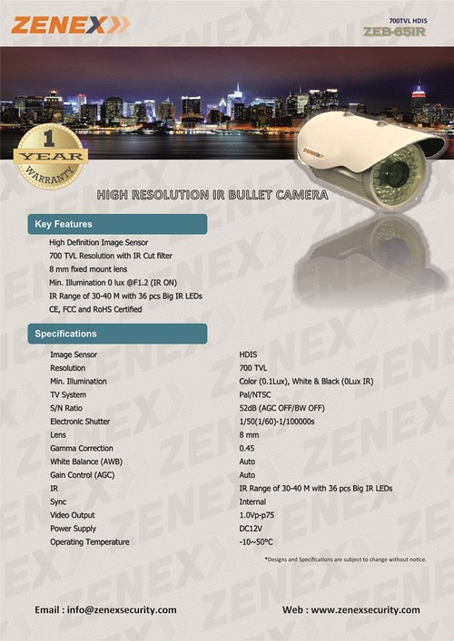 High Resolution Bullet IR Camera