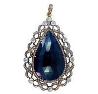 Blue Sapphire Moonstone Gold Pendant