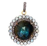 Moonstone Labradorite Diamond Gold Pendant