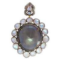 Sapphire Moonstone Diamond Gold Pendant