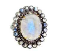 Moonstone Diamond Gold Ring