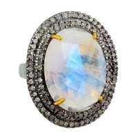 Pave Diamond Moonstone Gold Ring