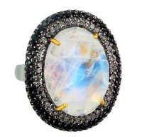 Gold Moonstone Diamond Pendant