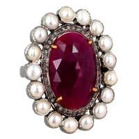 Pearl Ruby Diamond Gold Ring