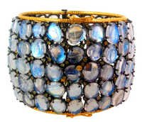 Moonstone Diamond Gold Bangle
