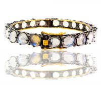 Gold Diamond Moonstone Bangle