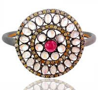 Moonstone Pink Tourmaline Diamond Gold Bangle