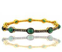 Emerald Diamond Gold Bangle